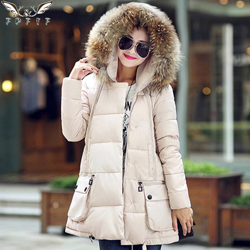 Новый 2015 зимняя куртка мода элитная мех пуховик женщины загущающие теплые мода зимнее пальто парка многоцветные