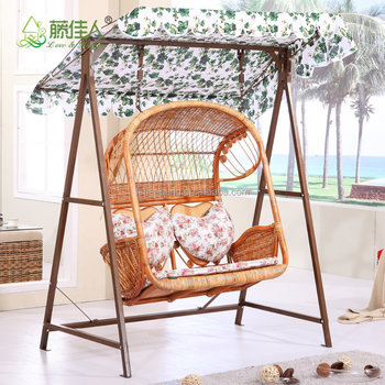 2016 New Outdoor Garden Patio Wicker 2 Person Plastic Rattan Hanging Swing  Chair With Canopy Cushion