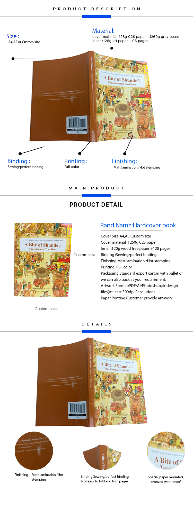 China printing service wholesale sewing binding colorful photo custom design print story softcover book