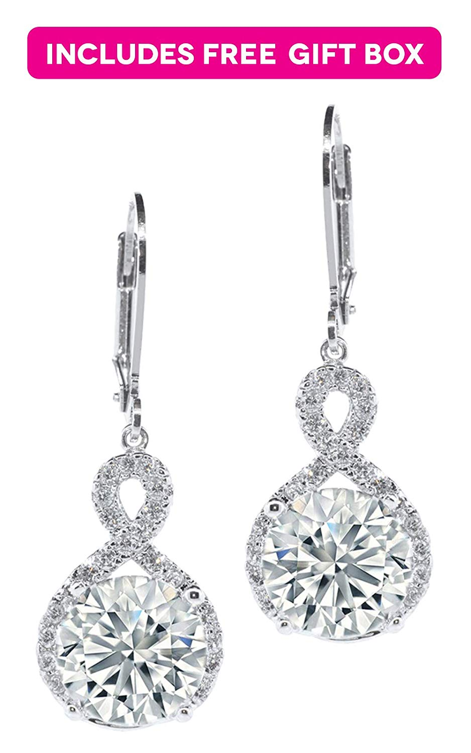 63d56db7a Get Quotations · Jade Marie FAITHFUL Silver Infinity Halo Drop Earrings,  18k White Gold Plated Round Cut Dangle