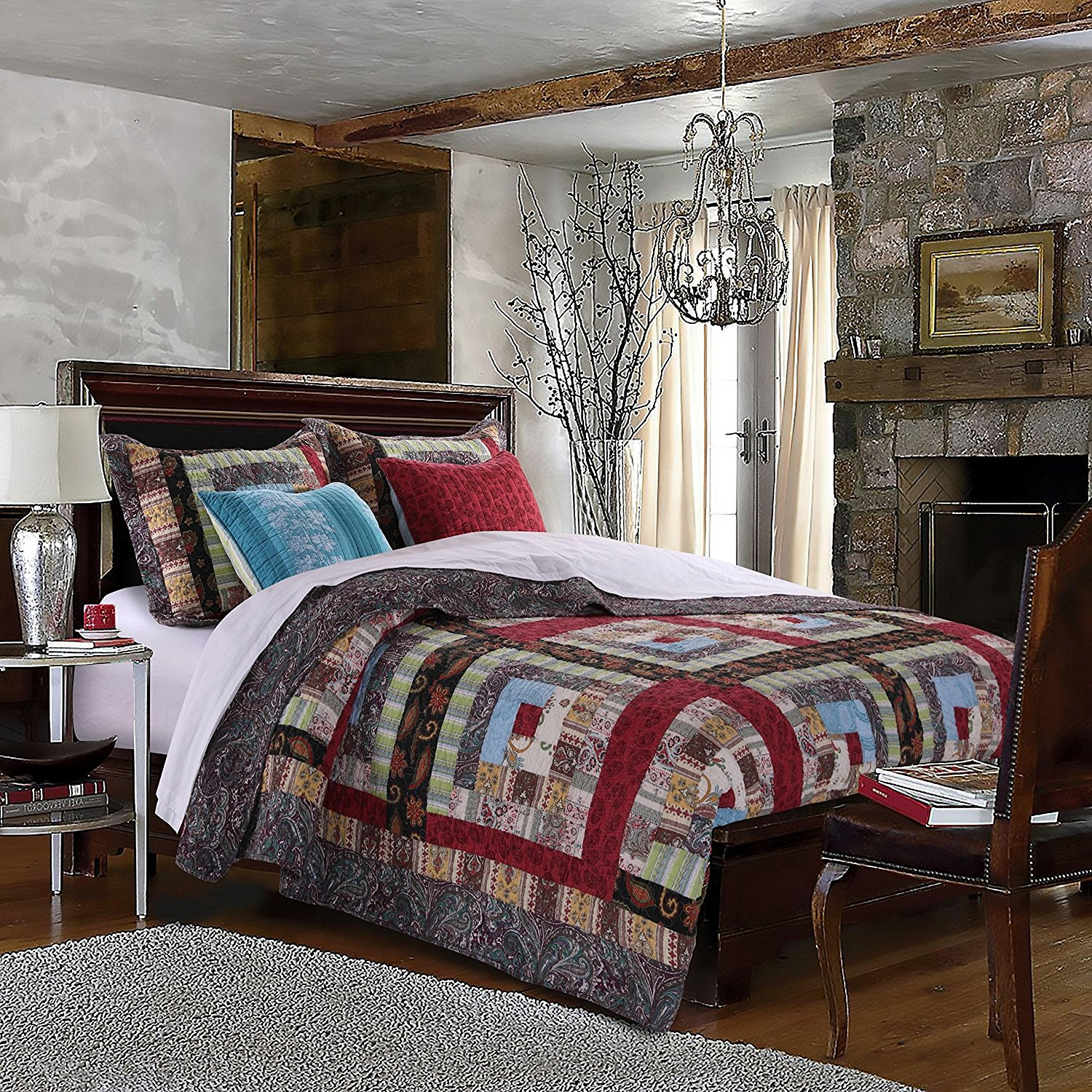 5 Piece Mulit Color Patchwork King Size Quilt Set, Red Blue Rustic Square Medallion Bedding, Floral Flowers Boho Chic Patch Work, Log Cabin Cottage, Cotton Reversible, Cotton, Polyester