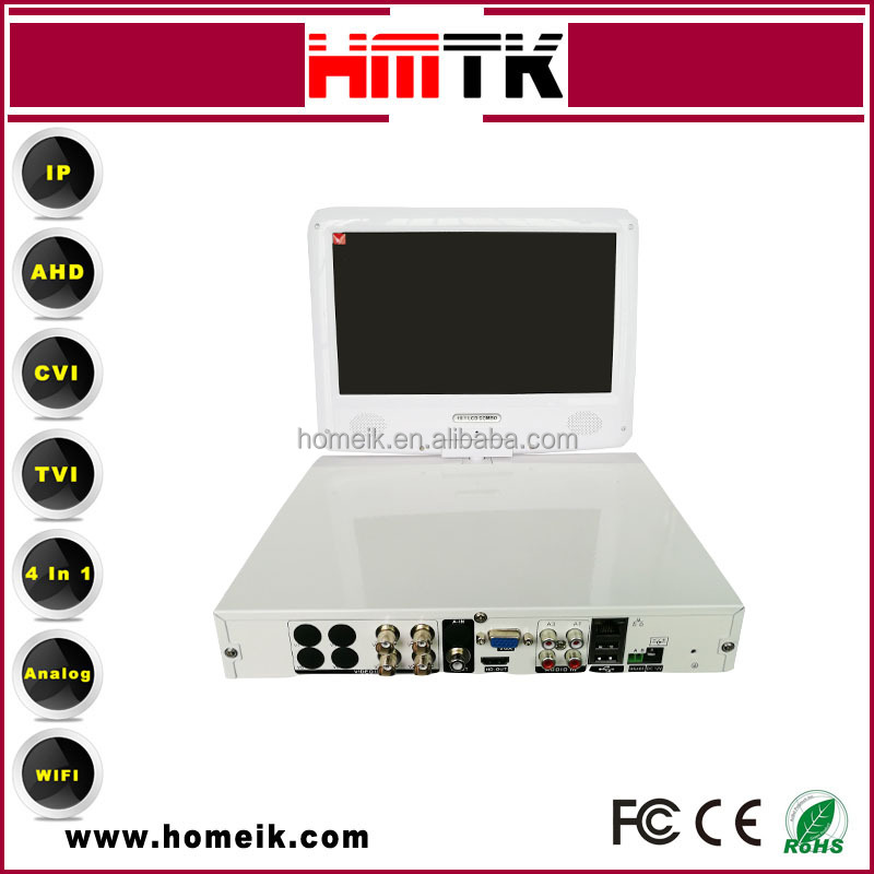Fashional White color 4CH Hi3520D V200 5 in 1 AHD DVR with LCD