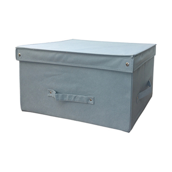 Foldable Storage Containers Grey Fabric Cloth Storage Boxes With Lids