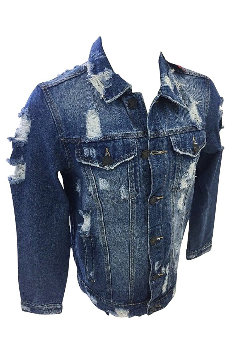 0ac0fcb137a Get Quotations · Mens Victorious Denim Jean Jacket Dark Indigo Blue Vintage  Distressed Wash DK100