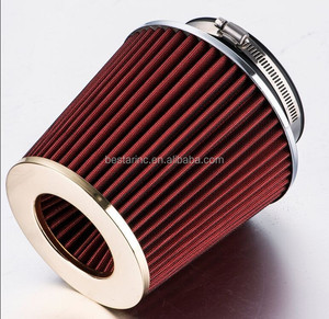 Universal cone shaped turbo air filter with hose clamps