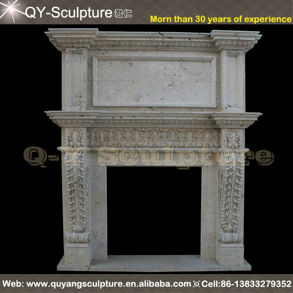Monumental Carved Marble Double Fireplace Mantel