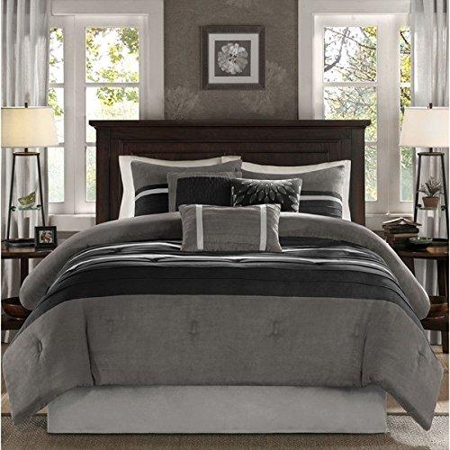 7 Piece Slate Grey Black Patchwork Comforter Cal King California Set, Gray Adult Bedding Master Bedroom Modern Stylish Pintuck Pattern Colorblock Elegant Themed Traditional Microsuede Polyester Stripe