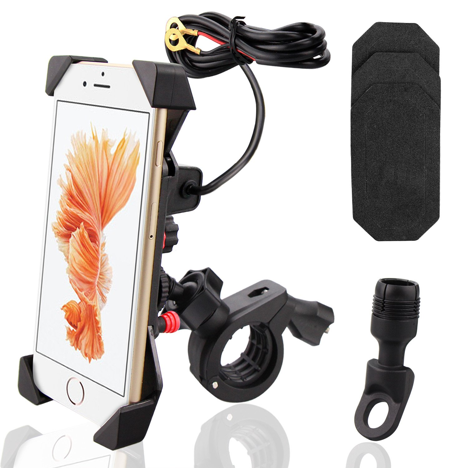 Motorcycle Phone Charging Mount, BonyTek Telescopic Type Motorcycle Bicycle Handlebar & Mirror Base GPS Cell Phone Mount Holder with USB Charging Port & Switch, X-Grip Clamp, Waterproof, 360° Rotation