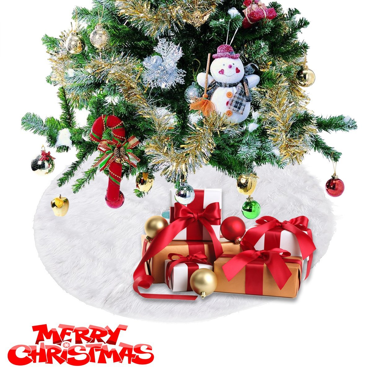 get quotations christmas tree skirt white plush holiday tree ornaments decoration for merry christmas home party decoration 307