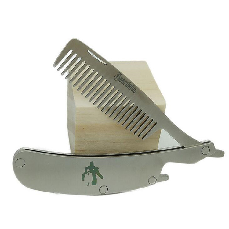 Customized logo pocket mini man gentleman private label beard comb folding comb