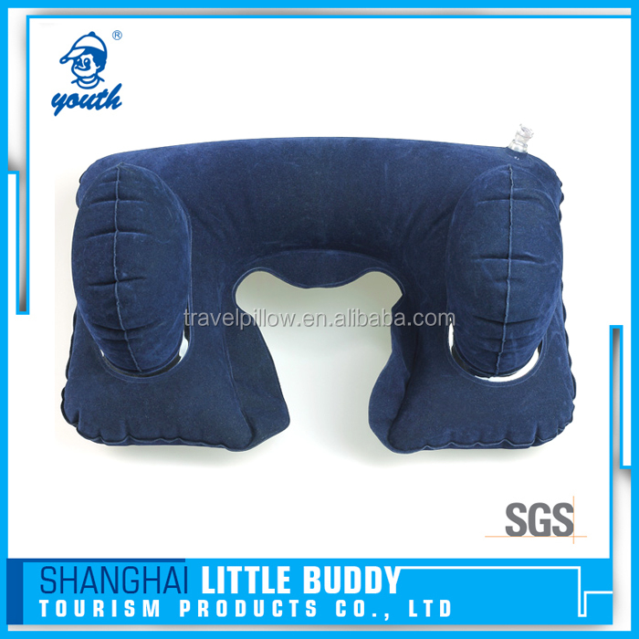 factory price Inflatable chair cervical neck travel pillow support in car airline travel with 2 bags