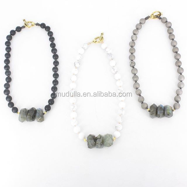 N16062701 Hotsale Gemstone Beaded With Nugget Labradorite Choker Necklace