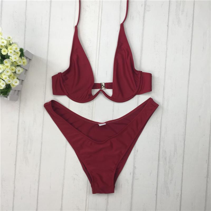 Bikini 2017 high cut thong bathing suit high cut swimsuit red Solid swimwear women Brazilian Biquini swim beach micro bikini set фото