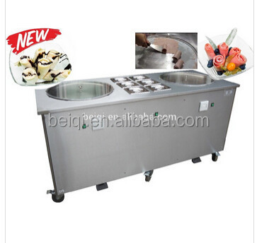fried rolled ice cream machine BQF217P double pans with 6 topping storage