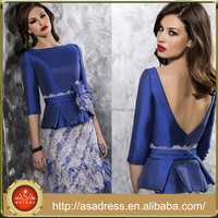 VL110 Gorgeous Plus Size Half Sleeve Lace and Satin Royal Blue Knee Length Backless Mother of the Bride Dress