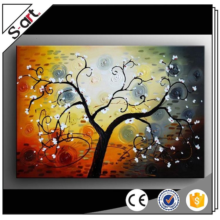 Custom original design tree abstract oil and acrylic paintings