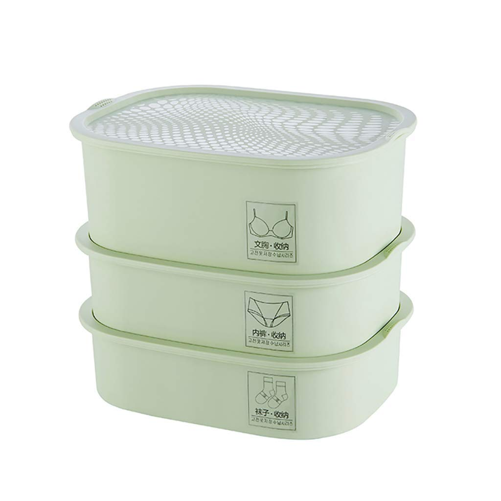 storage box Drawer Plastic Parts Storage Hardware and Craft Cabinet, Storage Bins [3-Pack], Plastic Three-Layer Underwear with lid (Color : Green)
