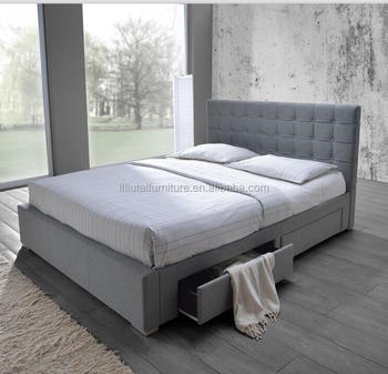 New Fabric Queen Bed With 4 Side Drawers Storage Bed Flat Slats