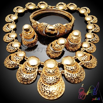 Fashionable Jewelry Women Big Gold Jewelry Set Of Indian Wedding