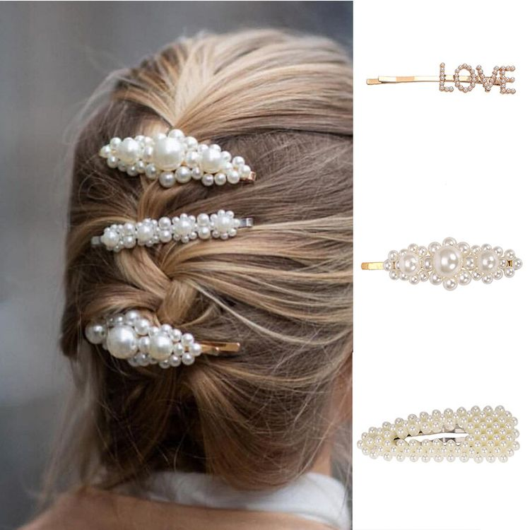 2019 Hot Sale Women Elegant Popular Love Heart Bowknot Pearl Hair Barrettes Hairclips Set