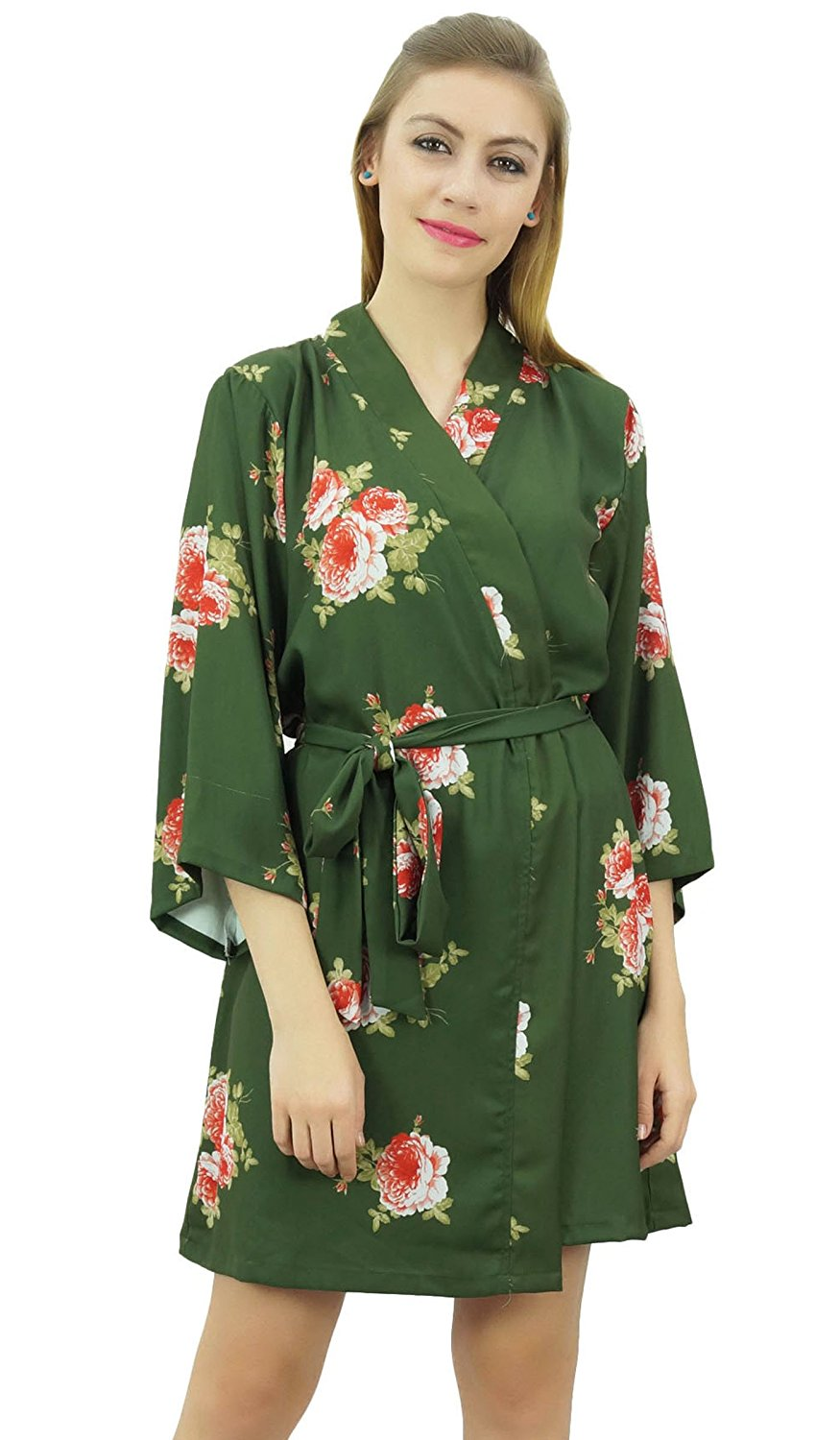 20c8980c86 Get Quotations · Bimba Women s Floral Printed Georgette Bridesmaid Robe  Coverup Wrap