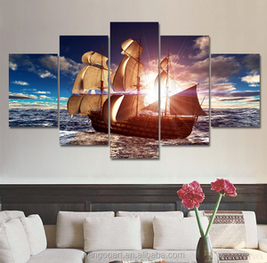 5 Panel Modern Canvas Prints Sea Boat Sunset Painting Beach Seascape Cuadros Decoracion Wall Picture for Living Room