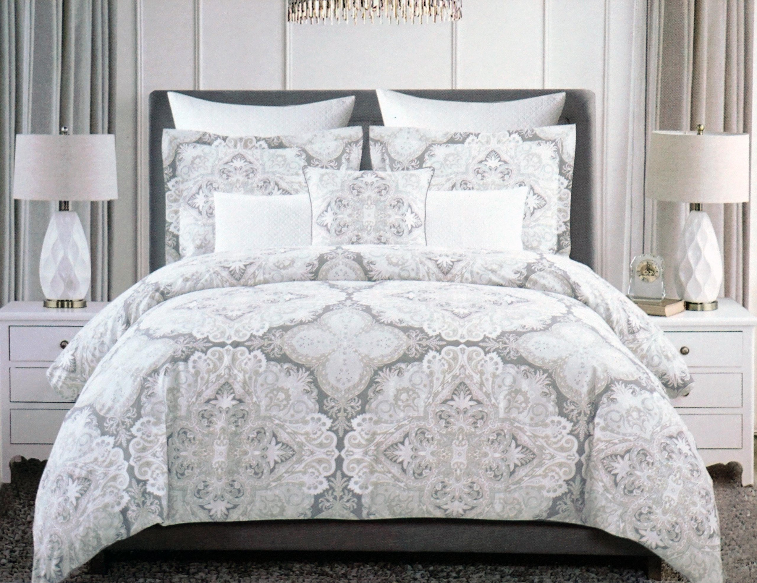 Buy Tahari Bedding 3 Piece King Duvet Cover Set Floral Paisley Medallion Pattern In Shades Of Gray Beige Tan White In Cheap Price On Alibaba Com