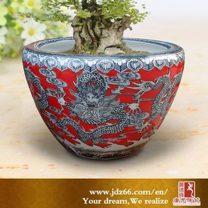 Round style hand carved red glazed chinese dragon large ceramic a flower pot for best sale