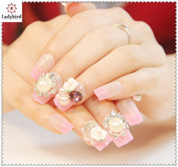 2014 New Design Bride Wedding Fake Nails Pearl Rhinestone Gliiter Tips 3d Nail Art Tip