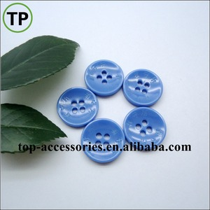 custom laser logo 4 hole blue polyester plastic shirt button