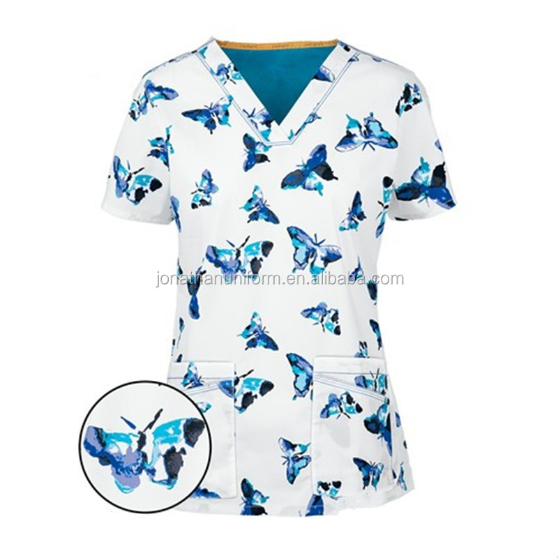 OEM Fashion Prints Designs Medical Hospital Nurse Scrub Uniforms