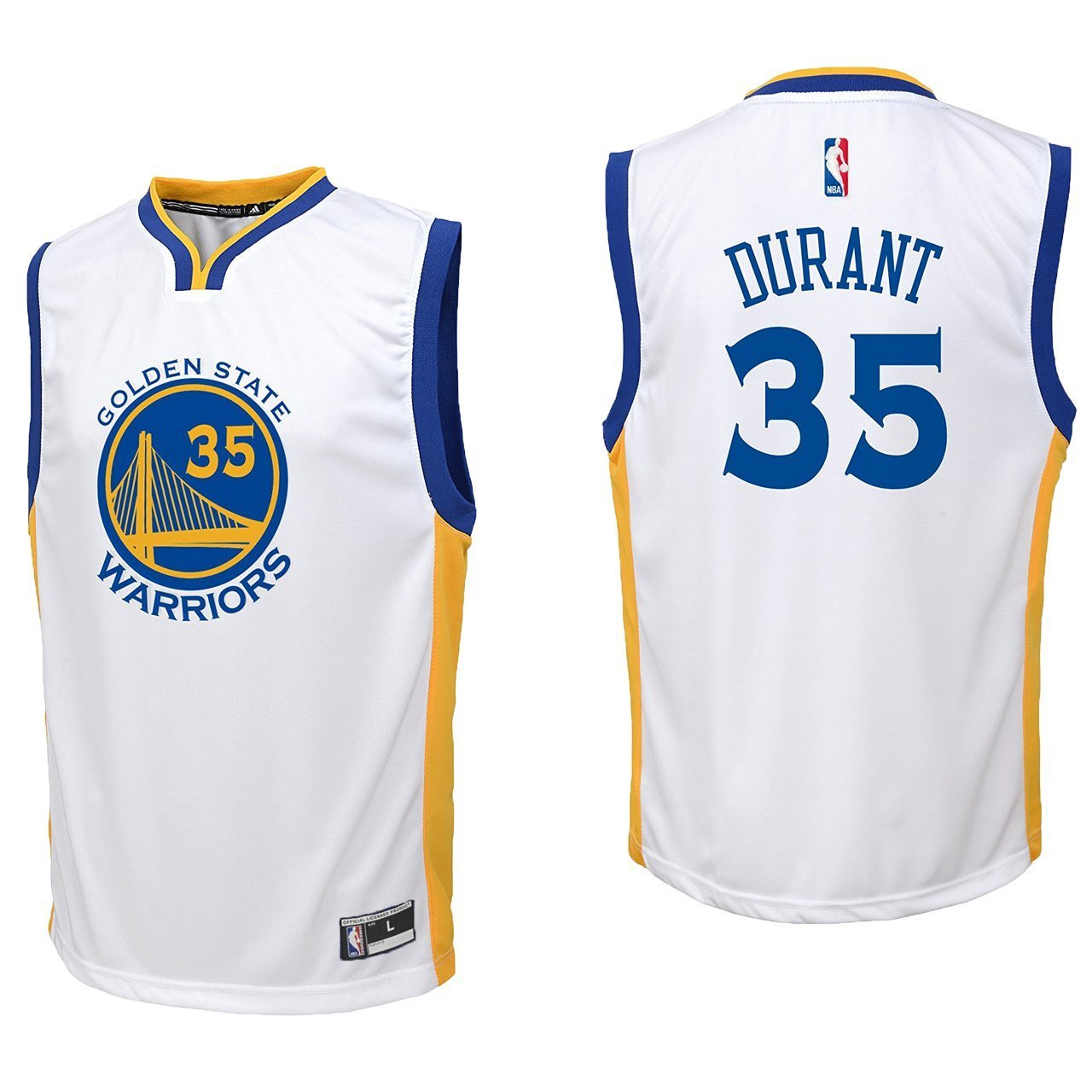 94c5c27f1 Get Quotations · OuterStuff Kevin Durant Golden State Warriors  35 White  Youth Home Replica Jersey