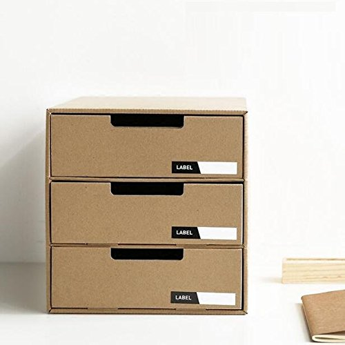 Chris.W Desktop 3-Tier Kraft Paper Drawer Organizer/Stacking Office Supplies Holder Tray/Desk File Cabinet/Jewelry Storage Box, Easy to Pull-out Drawer w/ Rectangle Writable Lables