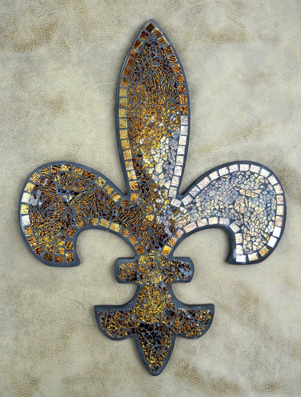 Lulu Decor, Fleur De Lis Mosaic Wall Plaque, Wall Decor