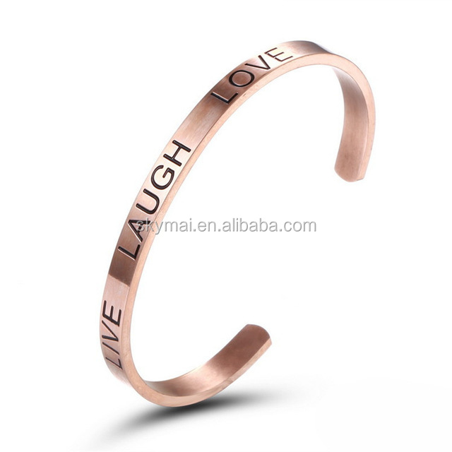 "Fashion Rvs 3 Kleuren Bangle Armbanden Voor Vrouwen ""LIVE LAUGH LOVE"""