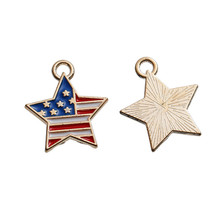 Zinc Based Alloy Charms Pentagram Star Gold Plated Flag of the United States Multicolor EnamelCustom Wholesale Charms Pendant