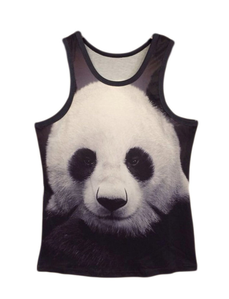 Professional for Men Women Giant Panda Vest Hip Hop Unisex 3D Animal Big Face Tank Top Custom Muscle Sleeveless Tank T Shirt