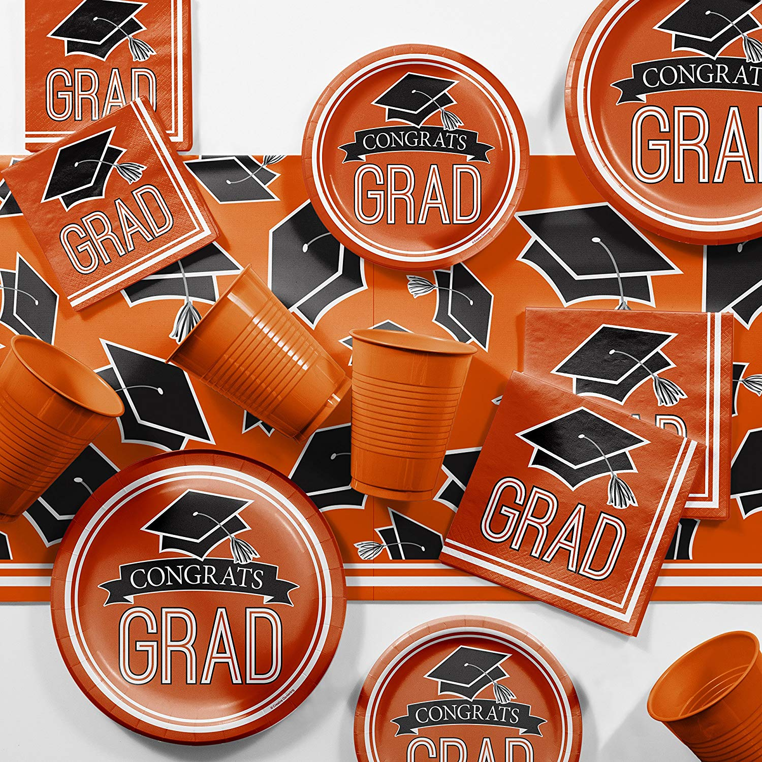 Graduation School Spirit Orange Party Supplies Kit