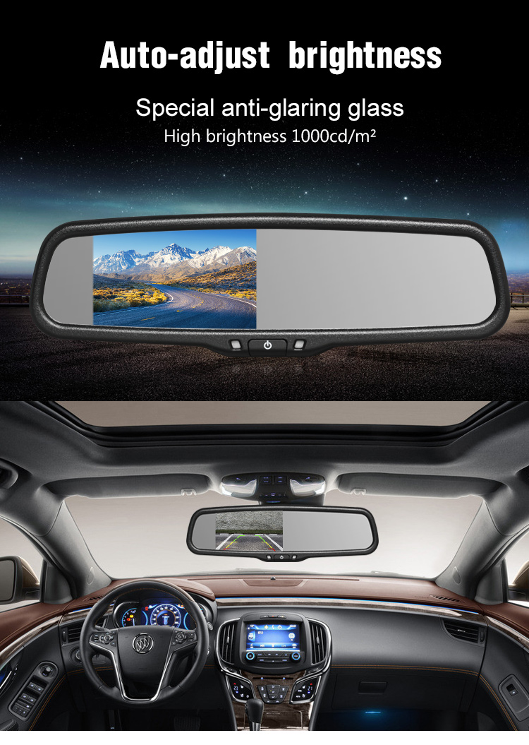 Auto-adjust brightness clip on car rearview mirror monitor