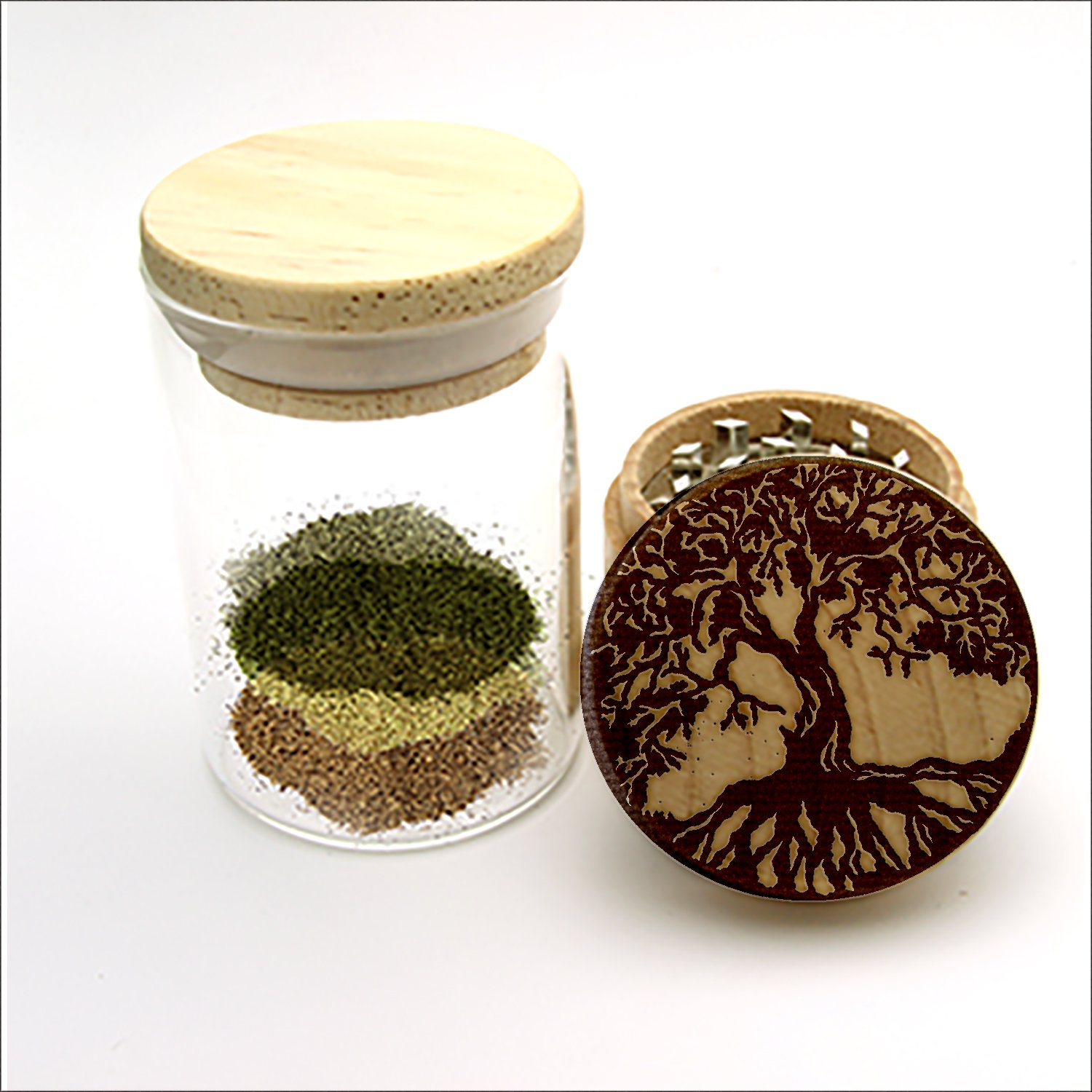 Herb Grinder, Tree of Life Wood Laser Engraved Herb Grinder, Custom Grinder with a FREE Glass Jar,