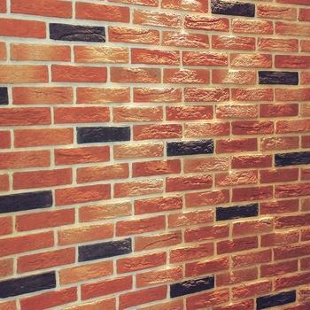 Outdoor Courtyard Rustic Red Artificial Culture Lightweight Concrete Cladding Brick Veneer