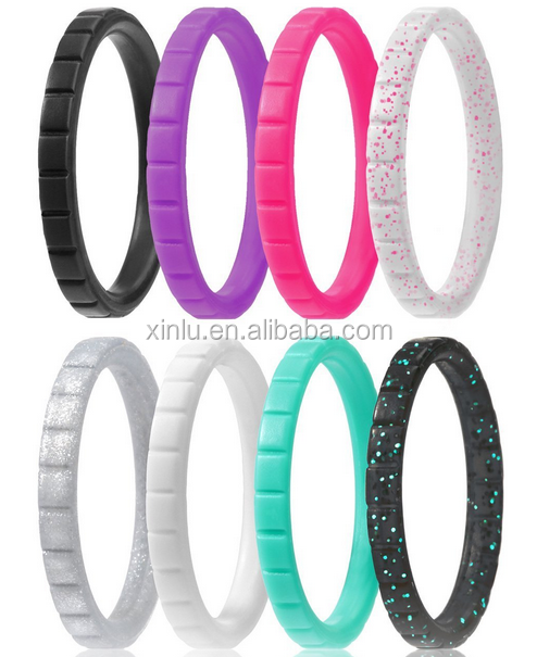 2017 hot sell stackable silicone wedding rings