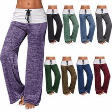Women's New Cozy Wide Leg Pant Fall Winter Foldover 100 % Cotton Yoga Legging Pants Bottom Plus Size Mode pour femme