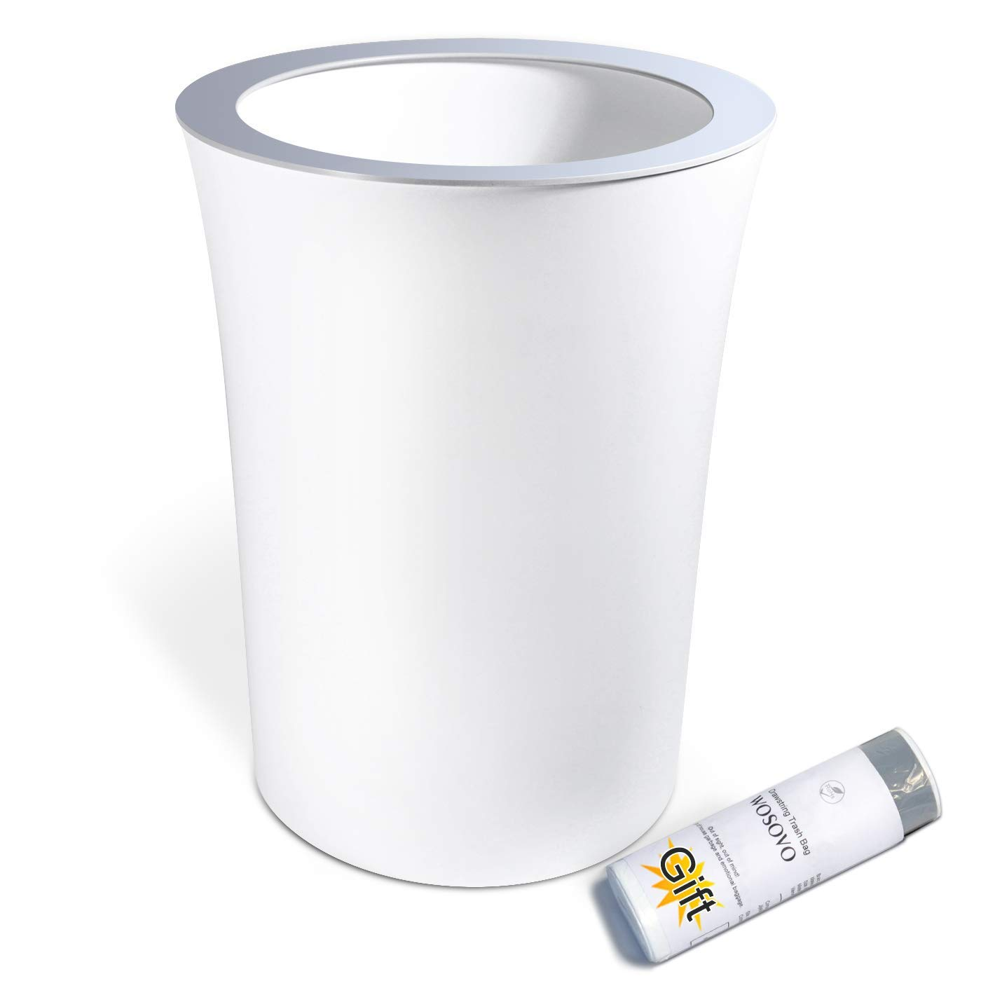 Small Trash Can White 10L/2.6 Gallon Hidden Garbage Bag, Novelty Sleek Garbage Bin Eco-friendly for Office Home Bedroom Bath Kitchen, Modern Wastebasket Plastic Round with Drawstring Trash Bags