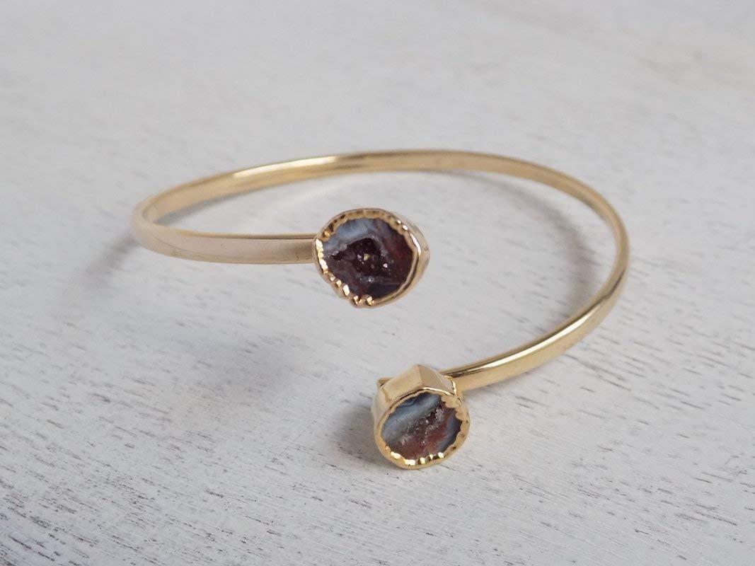 b4d158e88b3d Get Quotations · Geode Bracelet Druzy Bangle Gray Stone Adjustable Crystal  Cuff