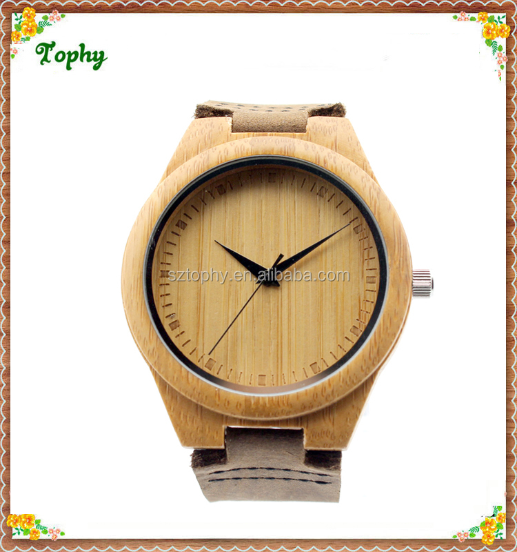 2016 Wholesale Fashion Bamboo Watch Men and women Custom Logo Wood Wrist Watch, Cheap Handmade Leather Strap Wooden Watches