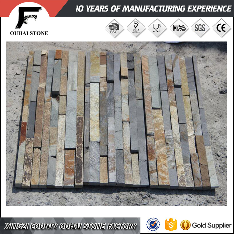 Landscaping decorative wall tiles black rusty culture slate stacked stone panels
