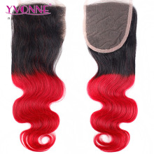 Free Parting Fashion Human Hair Pieces Body Wave Ombre Top Closure With Color T1B/Red