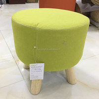 2018 colorful pine customized high quality wooden small round padded ottoman detachable fabric stool