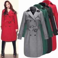 Ladies Elegant Winter Trench Coat Women 2015 New Fashion Long Wool Jacket Overcoat Parka